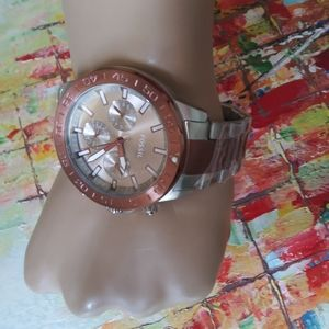 Fossil Silver Copper t stainless steel men's watch